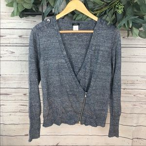 J Crew Heather Blue Zip Up Cardigan Sweater